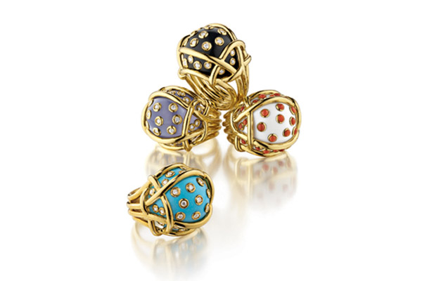"""Polka Dot"" rings"