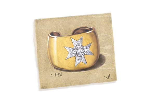 Gold and diamond Maltese Cross cuff