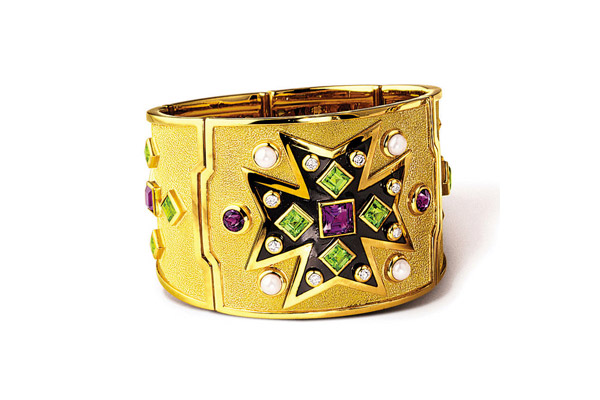 18kt yellow gold and gem set Maltese Cross cuff bracelet