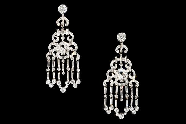 Cartier platinum and diamond 'Chandelier' earrings, circa 1930.