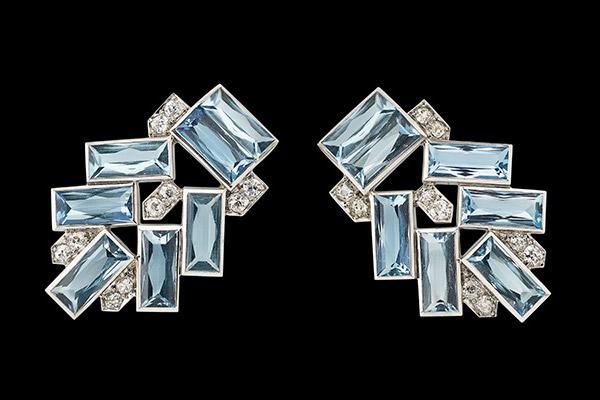 Cartier platinum, diamond and aquamarine 'Dress Clips' circa 1927.