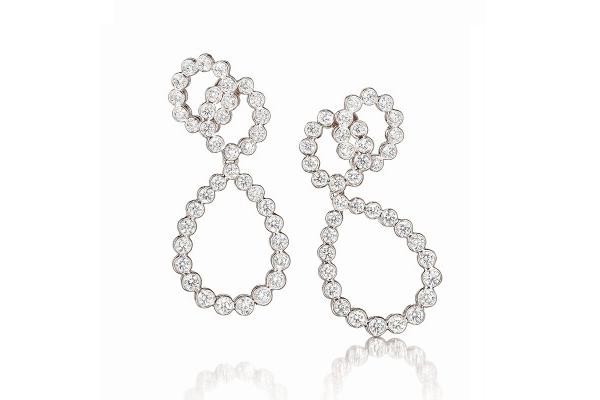 Looped Platinum & Diamond Earclips